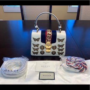 Gucci Sylvie Butterfly Lion Leather Handbag Bag